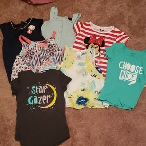 LOT OF 6 GIRLS TEES AND 1 ROMPER